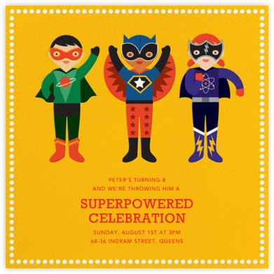 Superhero Trio - Petit Collage - Kids' birthday invitations