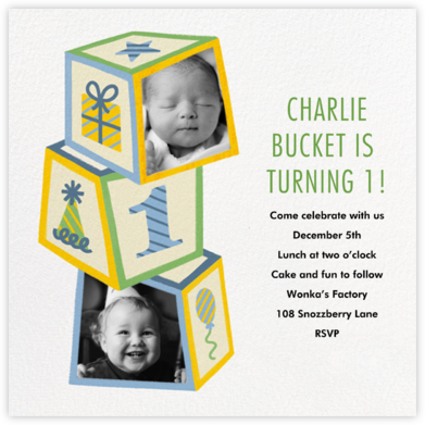 Baby Block Tower - Paperless Post - First Birthday Invitations