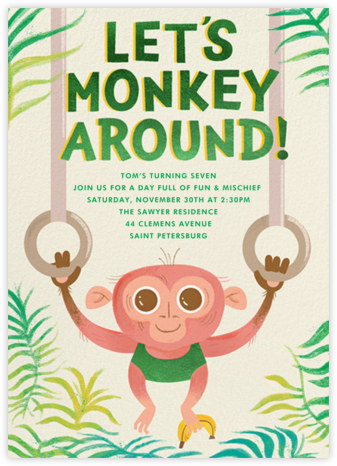 Monkey Mischief - Paperless Post - Online Kids' Birthday Invitations