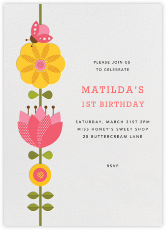 Flower Stem - Petit Collage - First Birthday Invitations