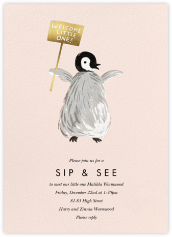 Baby Penguin - Rifle Paper Co. - Sip and see invitations