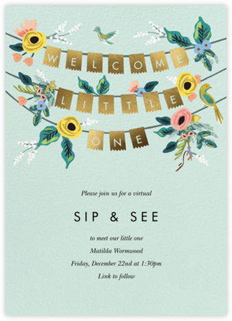 Golden Bunting - Rifle Paper Co. - Online Baby Shower Invitations