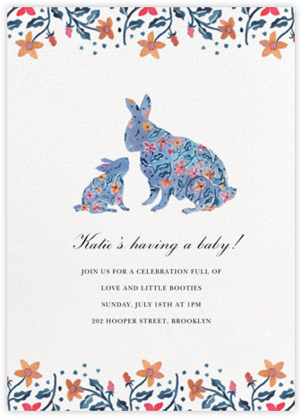 Budding Bunnies - Happy Menocal - Woodland Baby Shower Invitations
