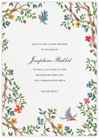 Birds on Bowers - Happy Menocal - Woodland Baby Shower Invitations