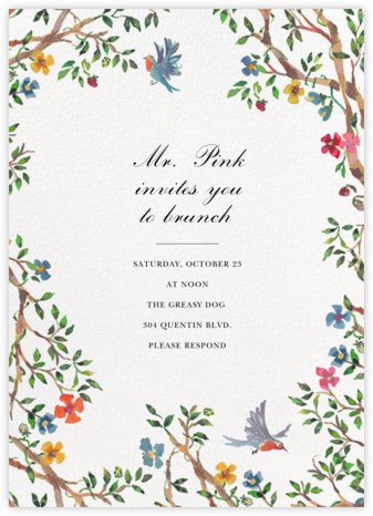 Birds on Bowers - Happy Menocal - Brunch invitations