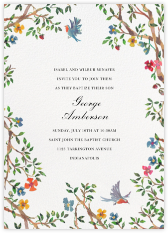 Birds on Bowers - Happy Menocal - Christening Invitations
