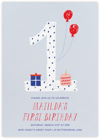 One to Remember - Blue - Mr. Boddington's Studio - First Birthday Invitations