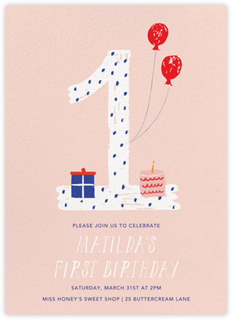 One to Remember - Pink - Mr. Boddington's Studio - First birthday and baby birthday invitations