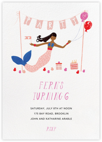 Party's Going Swimmingly - Raw Umber - Mr. Boddington's Studio - Kids' birthday invitations