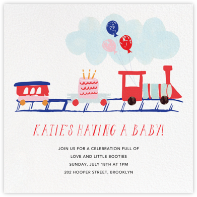 Train Crossing Ahead - Mr. Boddington's Studio - Baby shower invitations