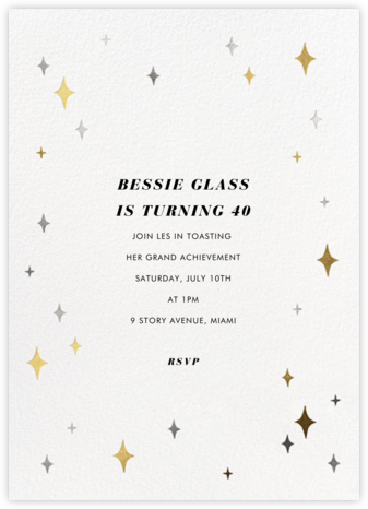 Space Age Stars - Paperless Post - Adult Birthday Invitations