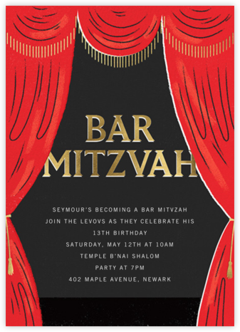 Putting on the Mitz - Bar - Paperless Post - Birthday invitations