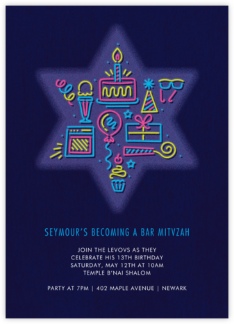Bar Neon - Paperless Post - Bat and Bar Mitzvah Invitations