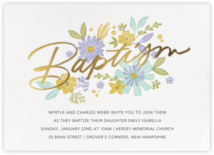 Mod Blossoms - Paperless Post - Christening Invitations