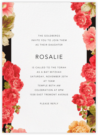 Garden Floral Ikat - Oscar de la Renta - Bat and Bar Mitzvah Invitations