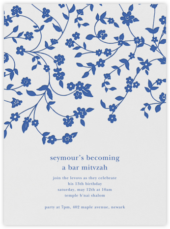 Floral Trellis I - Regent Blue - Oscar de la Renta - Bat and Bar Mitzvah Invitations