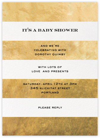 Evergreen Stripes - Gold/White - kate spade new york - Baby Shower Invitations