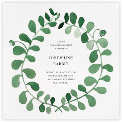 Mirabell - Green - Linda and Harriett - Online Baby Shower Invitations