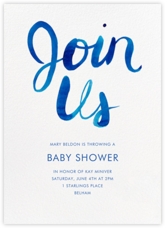 Join Us - Blue - Linda and Harriett - Baby shower invitations
