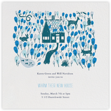 Red Riding Hood's New Home - Blue - Mr. Boddington's Studio - Housewarming party invitations
