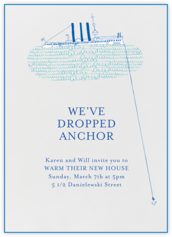 Sailing Across Atlantic - Mr. Boddington's Studio - Housewarming party invitations