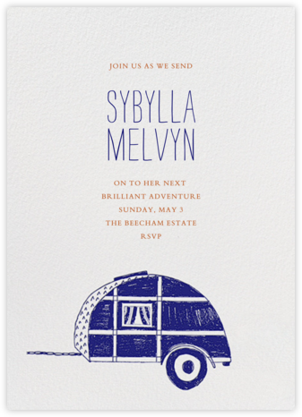 Pack Up The Trailer - Blue - Mr. Boddington's Studio - Farewell party invitations