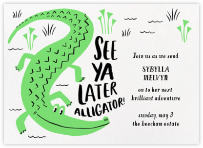 Later Gator - Hello!Lucky - Farewell party invitations