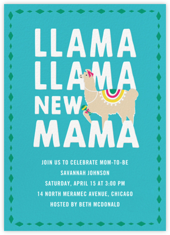 Llama New Mama - Cheree Berry - Online Baby Shower Invitations