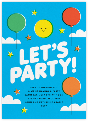 Balloons Aloft - The Indigo Bunting - Online Kids' Birthday Invitations