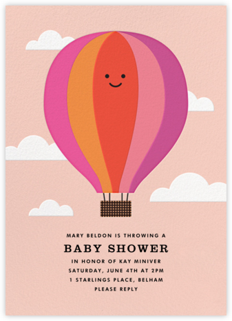 Gone Ballooning - Pink - The Indigo Bunting - Baby Shower Invitations