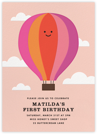 Gone Ballooning - Pink - The Indigo Bunting - First Birthday Invitations