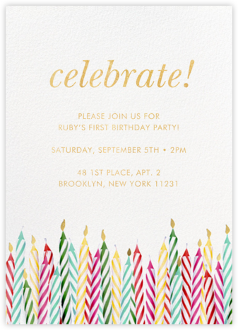 Candle Corner - kate spade new york - First Birthday Invitations