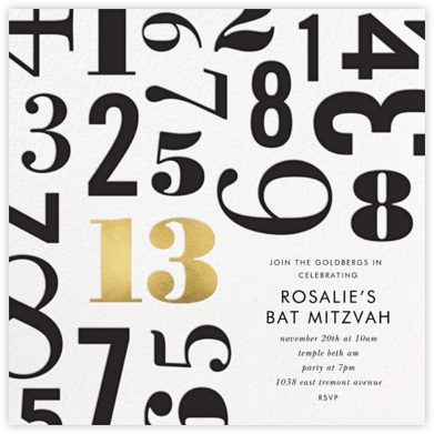 Lucky Number - Thirteen - kate spade new york - Bat and Bar Mitzvah Invitations
