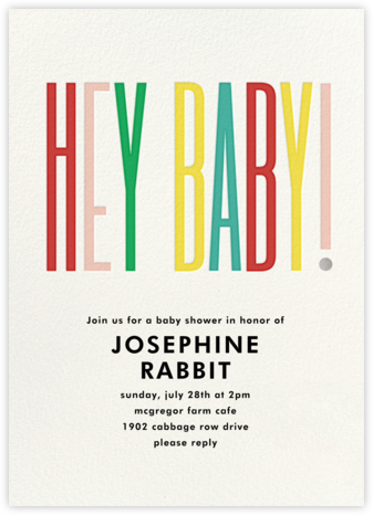 Hey Baby - kate spade new york - Online Baby Shower Invitations