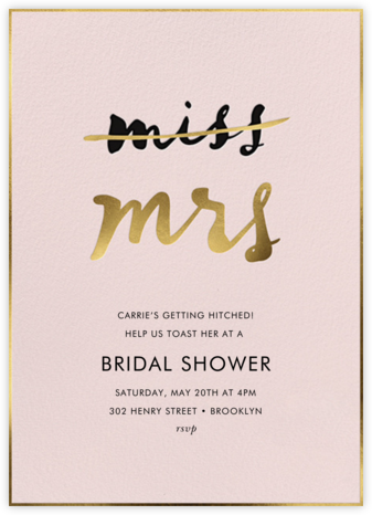 Miss Out - Antique Rose - kate spade new york - Bridal shower invitations