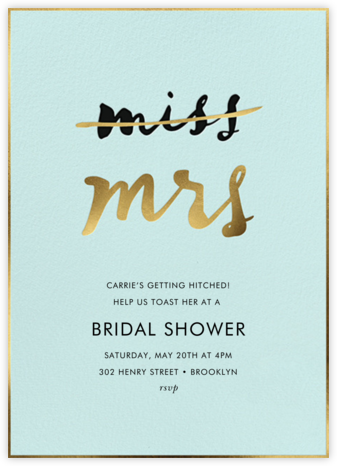Miss Out - Celadon - kate spade new york - Bridal shower invitations
