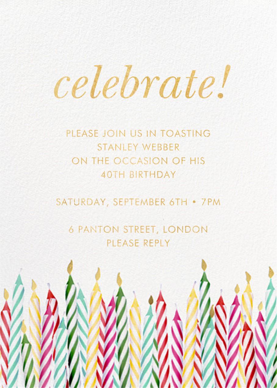 Candle Corner - kate spade new york - Adult birthday invitations