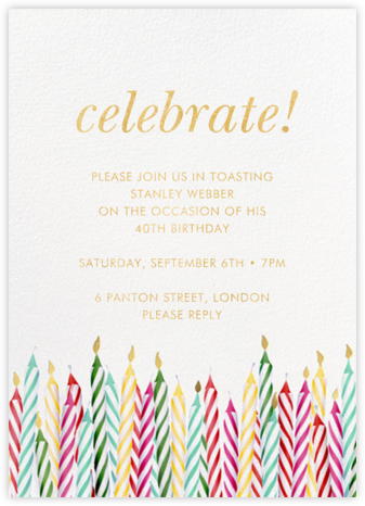 Candle Corner - kate spade new york - Adult birthday invitations