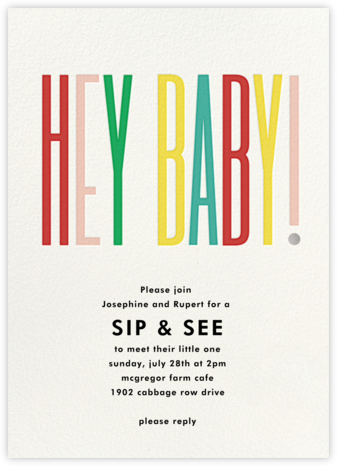 Hey Baby - kate spade new york - Sip and see invitations