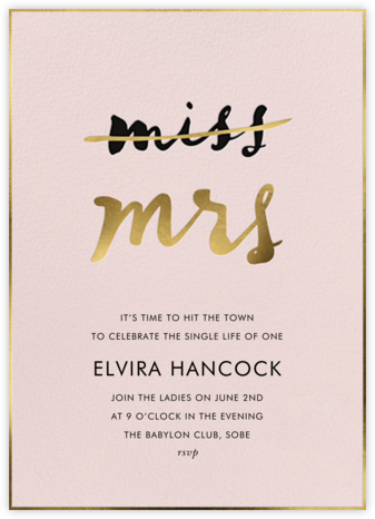 Miss Out - Antique Rose - kate spade new york - Bachelorette party invitations