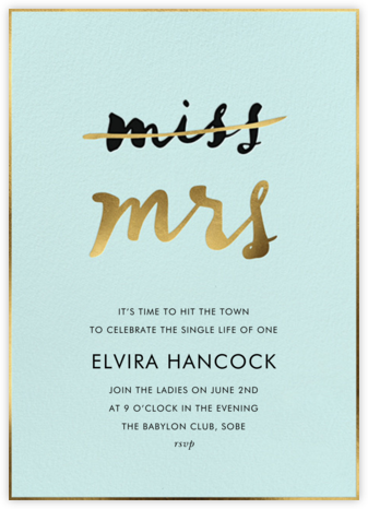 Miss Out - Celadon - kate spade new york - Bachelorette party invitations