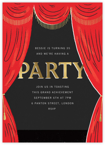 Curtain Call - Paperless Post - Adult Birthday Invitations