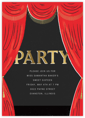 Curtain Call - Paperless Post - Sweet 16 invitations