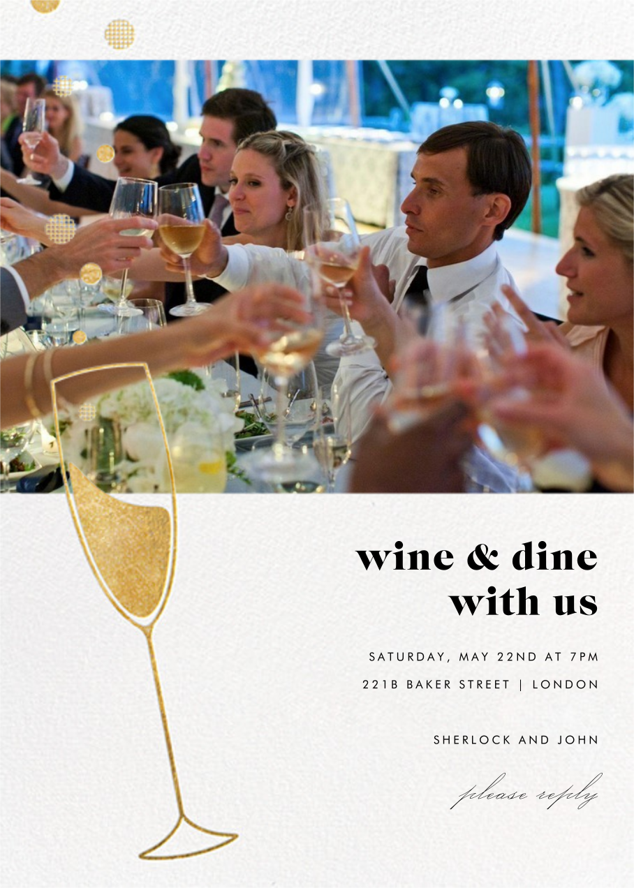 Champagne Bubbles (Photo) - Gold - Paperless Post - General entertaining
