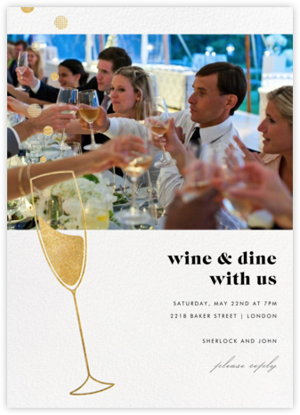 Champagne Bubbles (Photo) - Gold - Paperless Post - Dinner Party Invitations