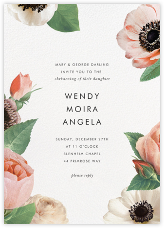 Floral Collage - kate spade new york - Baptism invitations