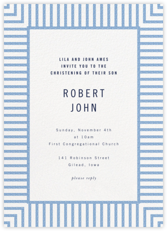 Seersucker Stripe - kate spade new york - Christening Invitations