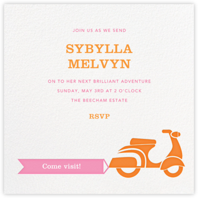 Scoot-a-Toot - White - Jonathan Adler - Farewell party invitations