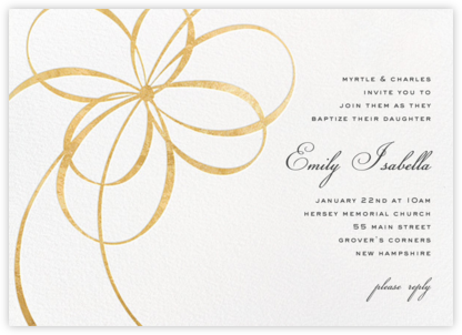 Belle Boulevard - Gold - kate spade new york - Christening Invitations