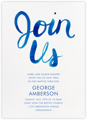 Join Us - Blue - Linda and Harriett - Baptism invitations